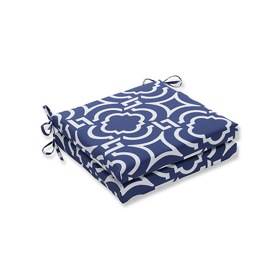 Pillow Perfect Outdoor Indoor Carmody Navy Squared Corners Seat Cushion 20x20x3 Set Of 2