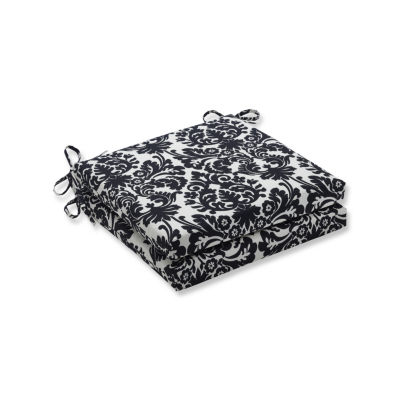 Pillow Perfect Outdoor / Indoor Essence Onyx Squared Corners Seat Cushion 20x20x3 (Set of 2)