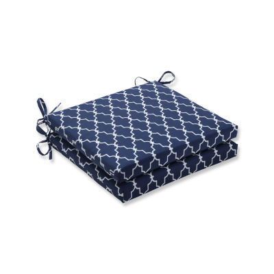 Pillow Perfect Outdoor / Indoor Garden Gate Navy Squared Corners Seat Cushion 20x20x3 (Set of 2)