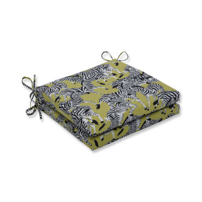 Pillow Perfect Outdoor / Indoor Herd Together Wasabi Squared Corners Seat Cushion 20x20x3 (Set of 2)
