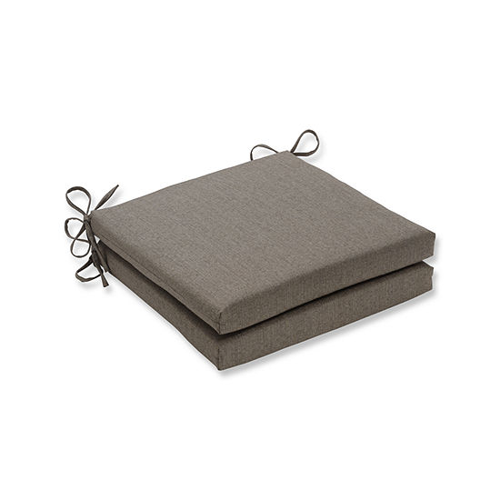 Pillow Perfect Outdoor / Indoor Linen Sesame Squared Corners Seat Cushion 20x20x3 (Set of 2)