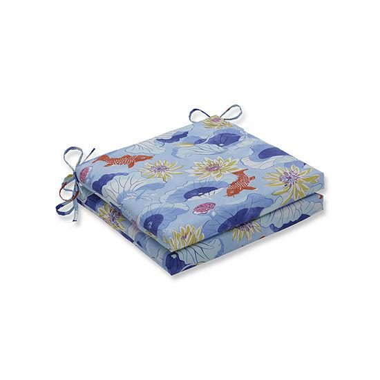 Pillow Perfect Outdoor Indoor Lotus Lake Cobalt Squared Corners Seat Cushion 20x20x3 Set Of 2