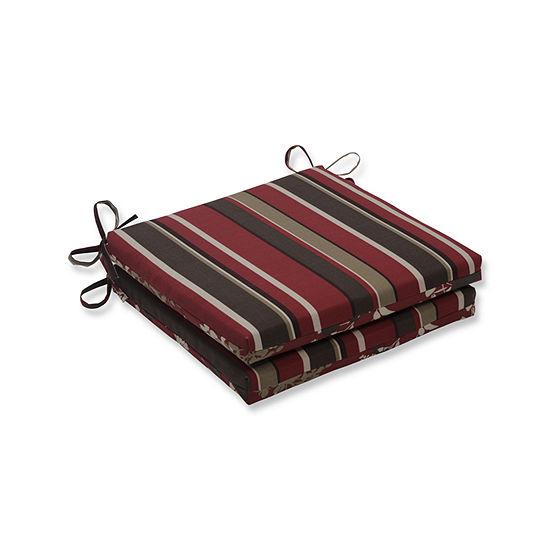 Pillow Perfect Outdoor / Indoor Monserrat / Montifleuri Sangria Red Squared Corners Seat Cushion 20x20x3 (Set of 2)