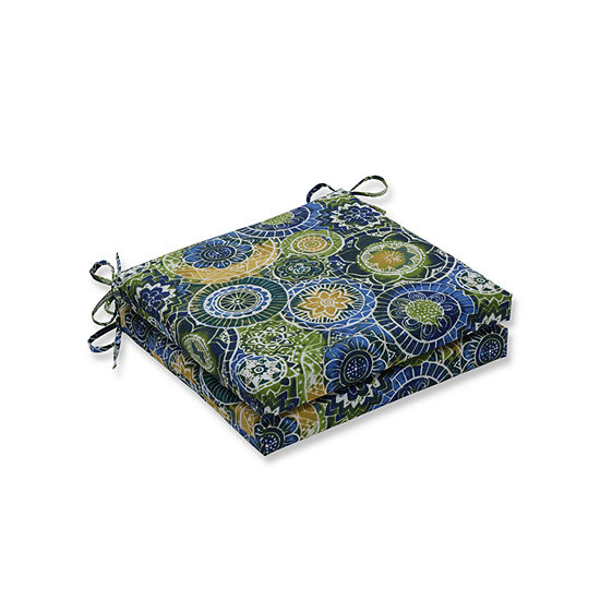 Pillow Perfect Outdoor / Indoor Omnia Lagoon Squared Corners Seat Cushion 20x20x3 (Set of 2)
