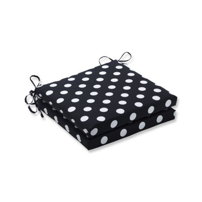Pillow Perfect Outdoor / Indoor Polka Dot Squared Corners Seat Cushion 20x20x3 (Set of 2)