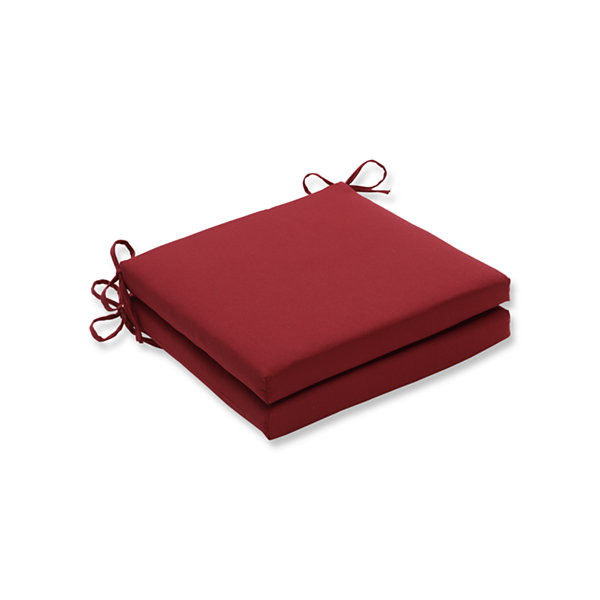 Pillow Perfect Outdoor / Indoor Pompeii Red Squared Corners Seat Cushion 20x20x3 (Set of 2)