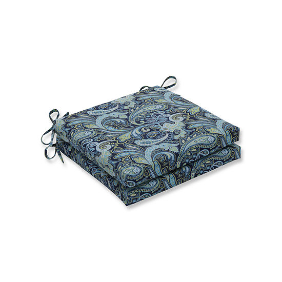 Pillow Perfect Outdoor / Indoor Pretty Paisley Navy Squared Corners Seat Cushion 20x20x3 (Set of 2)