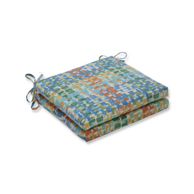 Pillow Perfect Outdoor / Indoor Quibble Sunsplash Squared Corners Seat Cushion 20x20x3 (Set of 2)