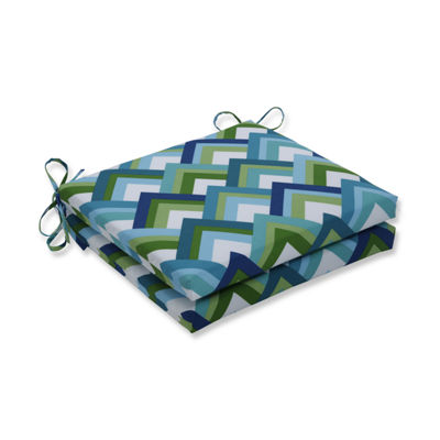Pillow Perfect Outdoor / Indoor Resort Peacock Squared Corners Seat Cushion 20x20x3 (Set of 2)