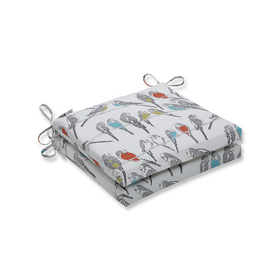 Pillow Perfect Outdoor / Indoor Retweet Mango Squared Corners Seat Cushion 20x20x3 (Set of 2)