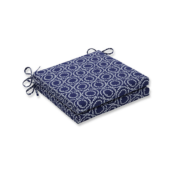 Pillow Perfect Outdoor / Indoor Ring a Bell Navy Squared Corners Seat Cushion 20x20x3 (Set of 2)