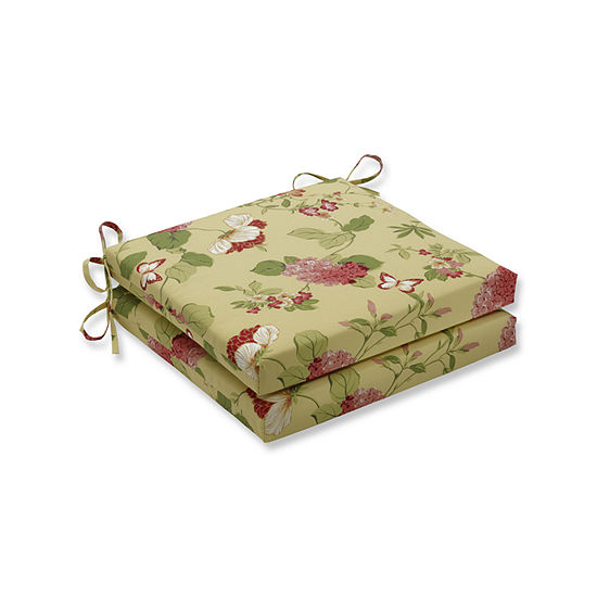 Pillow Perfect Outdoor / Indoor Risa Lemonade Squared Corners Seat Cushion 20x20x3 (Set of 2)