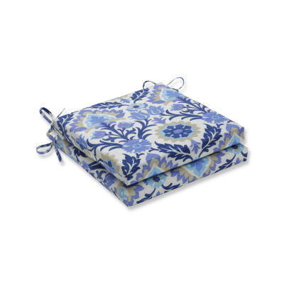 Pillow Perfect Outdoor / Indoor Santa Maria Azure Squared Corners Seat Cushion 20x20x3 (Set of 2)