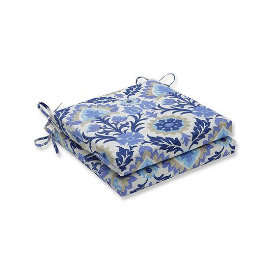 Pillow Perfect Outdoor / Indoor Santa Maria Azure Squared Corners Seat Cushion 20x20x3 (Set of 2)