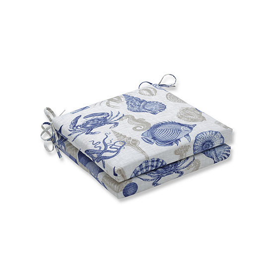 Pillow Perfect Outdoor / Indoor Sealife Marine Squared Corners Seat Cushion 20x20x3 (Set of 2)
