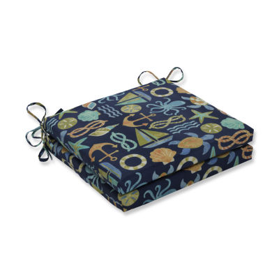Pillow Perfect Outdoor / Indoor Seapoint Squared Corners Seat Cushion 20x20x3 (Set of 2)