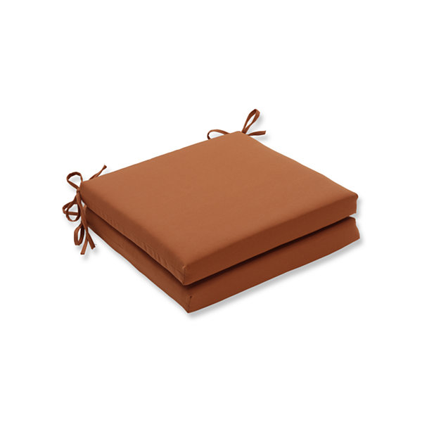 Pillow Perfect Outdoor / Indoor Solid Cinnabar Squared Corners Seat Cushion 20x20x3 (Set of 2)