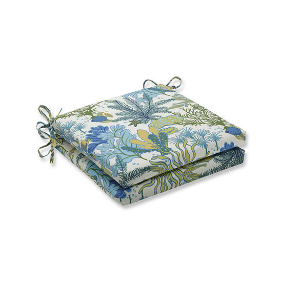 Pillow Perfect Outdoor / Indoor Splish Splash Marina Squared Corners Seat Cushion 20x20x3 (Set of 2)