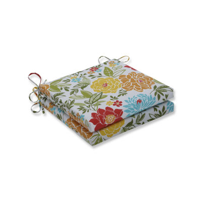 Pillow Perfect Outdoor / Indoor Spring Bling Multi Squared Corners Seat Cushion 20x20x3 (Set of 2)