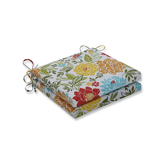 Pillow Perfect Outdoor Indoor Spring Bling Multi Squared Corners Seat Cushion 20x20x3 Set Of 2