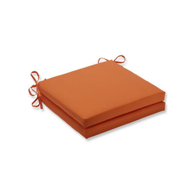 Pillow Perfect Outdoor / Indoor Sundeck Orange Squared Corners Seat Cushion 20x20x3 (Set of 2)