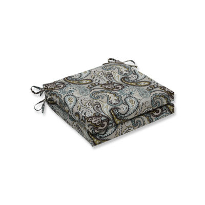 Pillow Perfect Outdoor / Indoor Tamara Paisley Quartz Squared Corners Seat Cushion 20x20x3 (Set of 2)