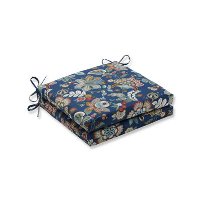 Pillow Perfect Outdoor / Indoor Telfair Peacock Squared Corners Seat Cushion 20x20x3 (Set of 2)
