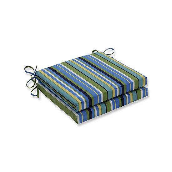 Pillow Perfect Outdoor / Indoor Topanga Stripe Lagoon Squared Corners Seat Cushion 20x20x3 (Set of 2)