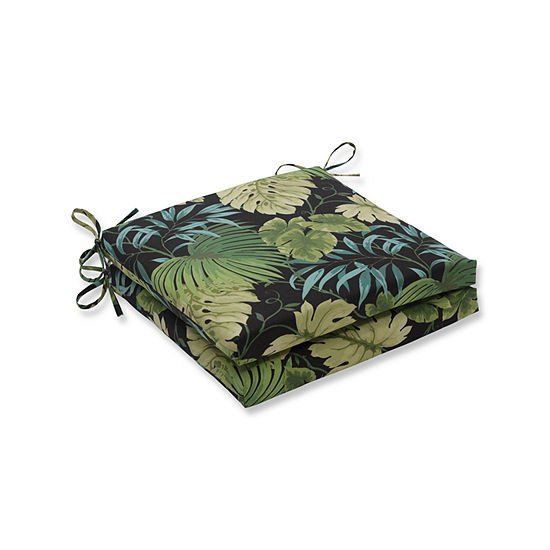 Pillow Perfect Outdoor / Indoor Tropique Peridot Squared Corners Seat Cushion 20x20x3 (Set of 2)