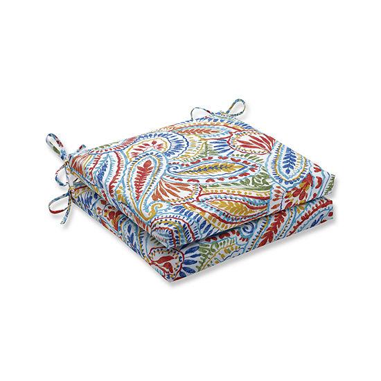 Pillow Perfect Outdoor / Indoor Ummi Multi SquaredCorners Seat Cushion 20x20x3 (Set of 2)