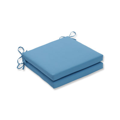 Pillow Perfect Outdoor / Indoor Veranda Turquoise Squared Corners Seat Cushion 20x20x3 (Set of 2)