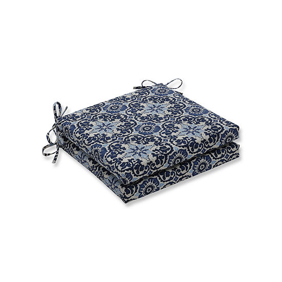 Pillow Perfect Outdoor / Indoor Woodblock Prism Blue Squared Corners Seat Cushion 20x20x3 (Set of 2)