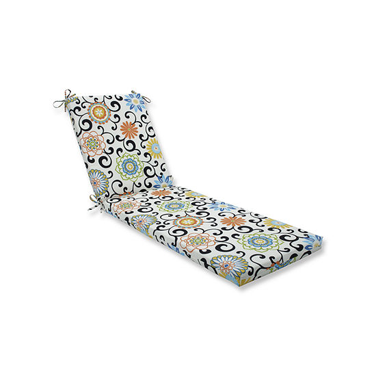 Pillow Perfect Outdoor / Indoor Pom Pom Play Chaise Lounge Cushion 80x23x3