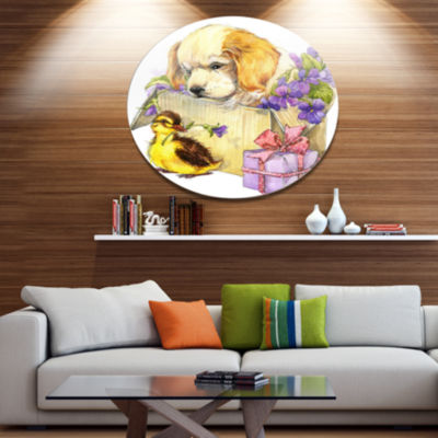 Designart Cute Puppy Dog and Duck Disc Contemporary Animal Metal Circle Wall Decor