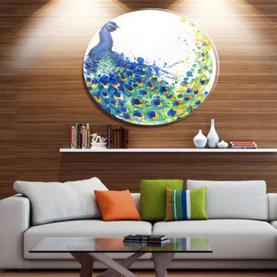 Designart Exotic Peacock Watercolor Disc Contemporary Animal Metal Circle Wall Decor