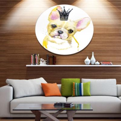 Designart French Bulldog with Black Crown Disc Contemporary Animal Metal Circle Wall Decor