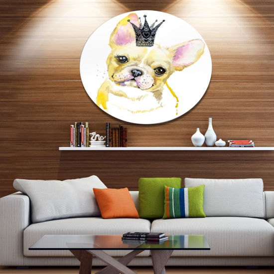 Designart French Bulldog with Black Crown Disc Contemporary Animal Metal Circle Wall Decor