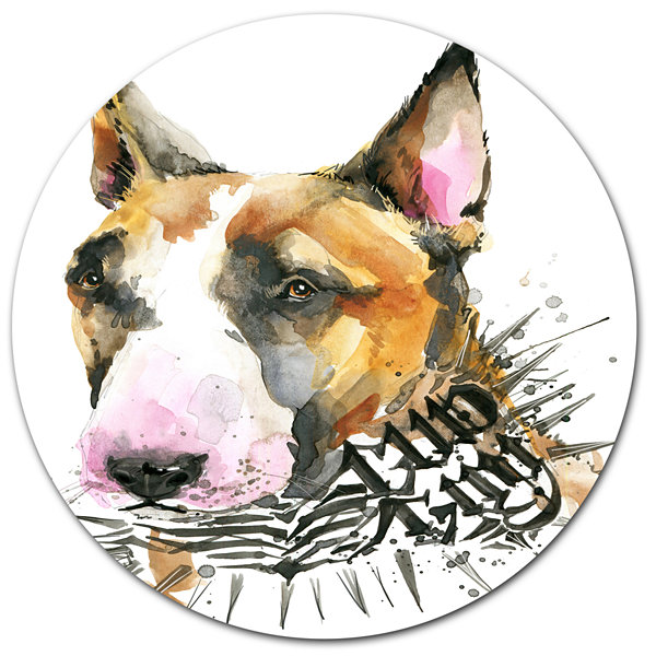 Designart Watercolor Funny Dog Illustration Disc Contemporary Animal Metal Circle Wall Decor