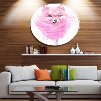 Designart Watercolor Pink Dog Illustration Disc Contemporary Animal Metal Circle Wall Decor