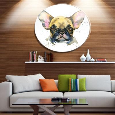 Designart Watercolor Brown Dog Illustration Disc Contemporary Animal Metal Circle Wall Decor