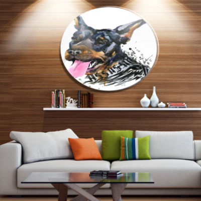 Designart Watercolor Aggressive Dog Illustration Disc Contemporary Animal Metal Circle Wall Decor