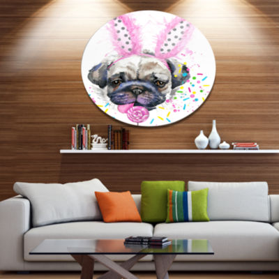 Designart Cute Dog with Pink Feather Hat Disc Contemporary Animal Metal Circle Wall Decor