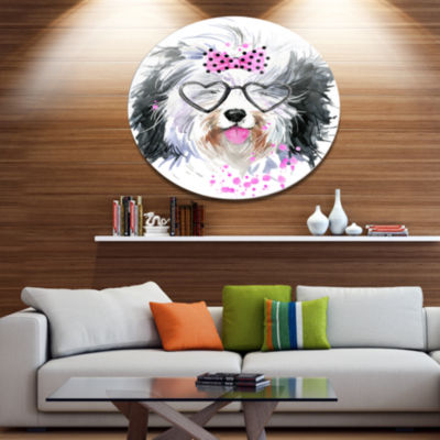 Designart Cute Dog with Heart Glasses Disc Contemporary Animal Metal Circle Wall Decor