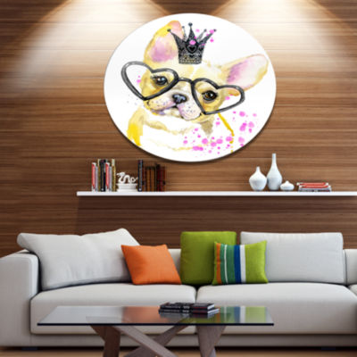 Designart Funny Dog with Large Glasses Disc Contemporary Animal Metal Circle Wall Decor