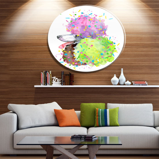 Designart Cute Brown Dog with Color Spheres Disc Contemporary Animal Metal Circle Wall Decor