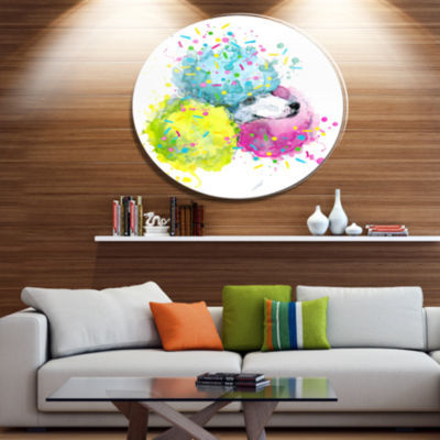 Designart Cute White Dog with Color Spheres Disc Contemporary Animal Metal Circle Wall Decor