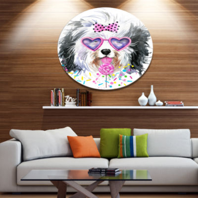 Designart Lovely Dog with Pink Heart Glasses DiscContemporary Animal Metal Circle Wall Decor