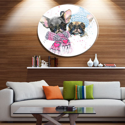 Designart Lovely Puppies with Neck Shawls Disc Contemporary Animal Metal Circle Wall Decor