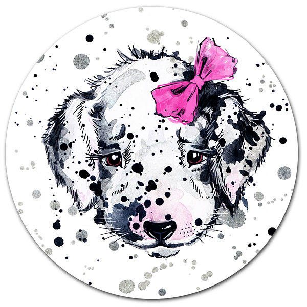 Designart Funny Puppy with Pink Hair Band Disc Contemporary Animal Metal Circle Wall Decor
