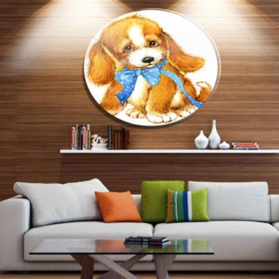 Designart Lovely Puppy Dog Watercolor Disc Contemporary Animal Metal Circle Wall Decor